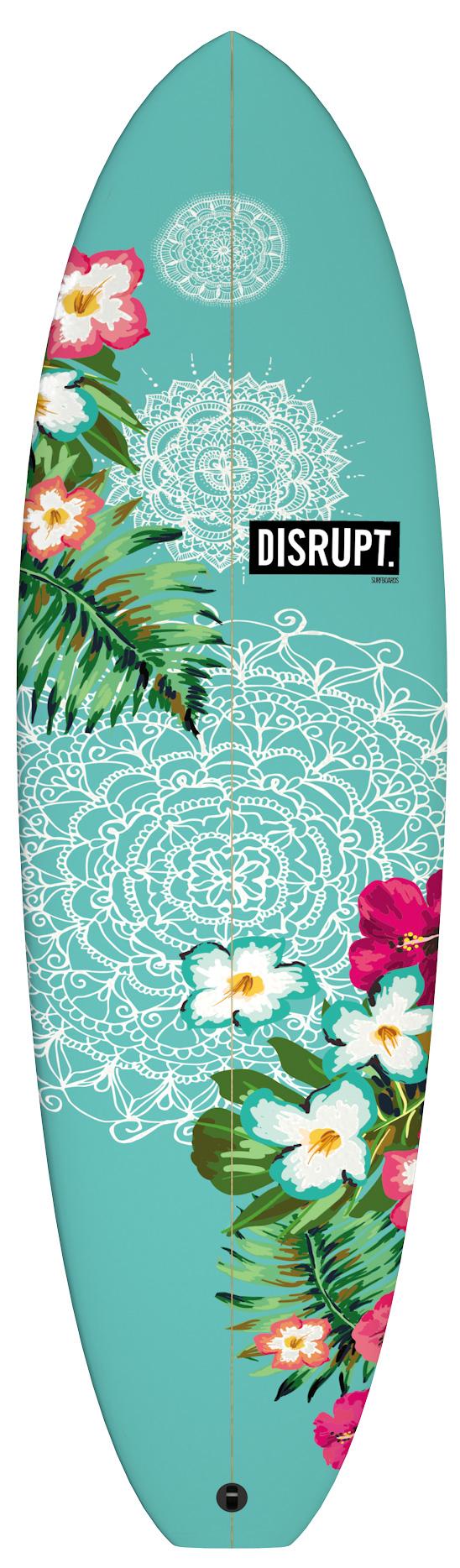 Retro Single Fin Surfboard Floral